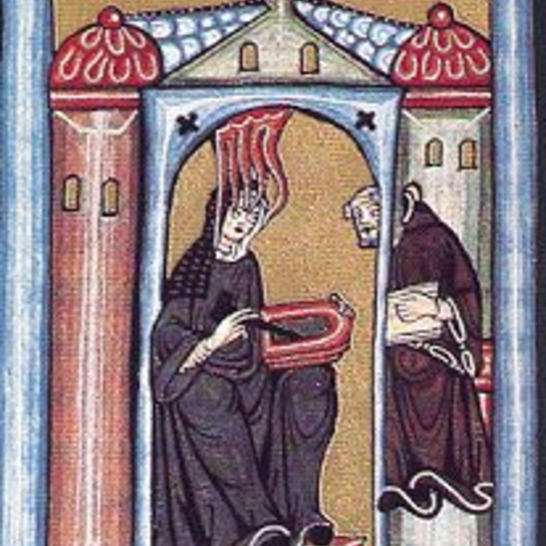 Hildegard channelling the Holy Spirit and her scribe taking it all down!