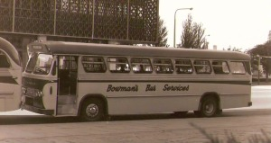 Bowmans Bus in front of Pilgrim Church - amazing what you can find on line!